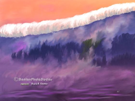 White ocean layer huggs a mountain